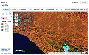 This dynamic image service available in ArcGIS Online provides visual renderings of Landsat 8 OLI 30-meter 8-band multispectral scenes covering the landmass of the world. The service includes on-the-fly functions that render different band combinations and indexes.
