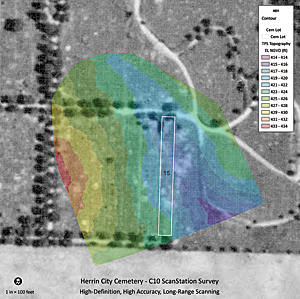 High-definition, high-accuracy, long-range C10 ScanStation survey being used in Herrin City Cemetery