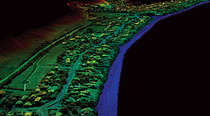 A 3D point cloud depicting a coastal area. Similar to lidar, point clouds provide 3D information that can be combined with the air photos for analysis and visualization.