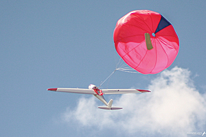 The Hawkeye UAV lands by parachute, a far safer method of making an emergency landing than a belly landing.