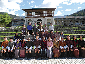 Instructors and participants in the ArcGIS Online course at Royal Thimphu College in Bhutan. M Abdullah Abu Diyan, Karen Beardsley, and Canserina Kurnia are in the front row 7, 8, and 9 positions from the left.