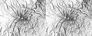 Compare the SRTM 90 m image (left) with the more detailed SRTM 30 m image (right) showing Chimborazo, an inactive stratovolcano that is the highest peak in Ecuador.