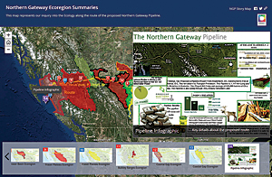Using an Esri Story Map template, the class created Northern Gateway Ecoregion Summaries, an interactive Story Map that summarized each group's final decision.