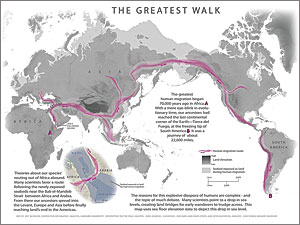 The Greatest Walk depicts the path of prehistoric migration. Salopek will spend eight years retracing the 21,000-mile route from east Africa to the southern tip of South America. Photo courtesy of Harvard University Center for Geographic Analysis