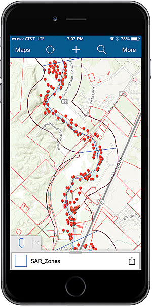 The Collector for ArcGIS app screen shows search zones and SAR points collected by search teams.