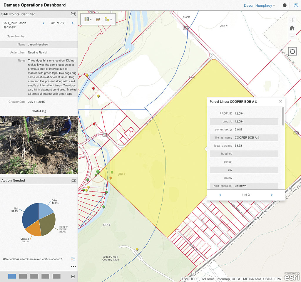 Operations Dashboard showed SAR points, photos, and landownership information in real time.