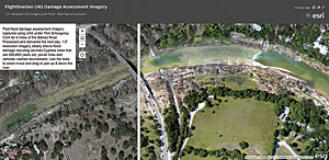 Side-by-side ArcGIS Online swipe map shows before and after imagery of the disaster site.