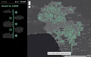 The Road to 2400 app shows how many miles of street lanes have been paved since Garcetti took office in 2013.