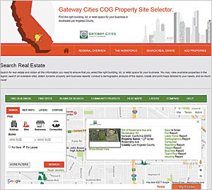 In addition to making city data available for online mapping, download, or development into apps, Long Beach has apps on the site that address economic development such as this property site selector.