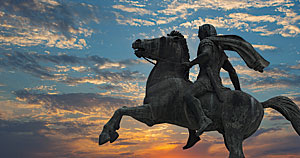 This statue of Alexander the Great astride Bucephalus is located on the waterfront, one of the most popular areas of Thessaloniki.