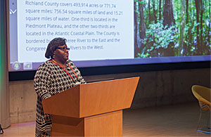 "During the 2017 Geodesign Summit, Carter showed the audience her ""Green Infrastructure: The Richland County GIS Initiative"" story map, which outlines the plan's goals and displays interactive maps that show the results of her habitat analyses."