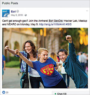 Follow Esri GeoDev on Facebook and other social media to find out about local events near you.