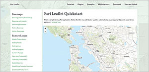 Esri GitHub projects, like this Esri Leaflet Quickstart, are a great way to learn more about tools and interact with other developers.