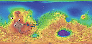 DEM of the Martian surface derived from Mars Orbiter Laser Altimeter (MOLA) data that was captured at 463-meter by 463-meter resolution during the Mars Global Surveyor mission.