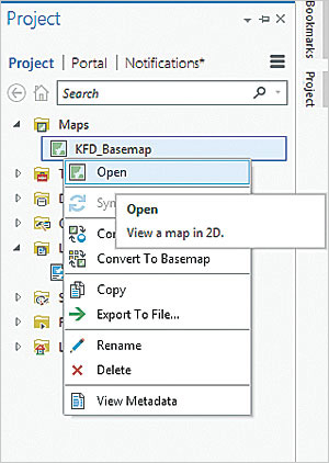 Open the new project based on the imported ArcMap document using the Project pane.