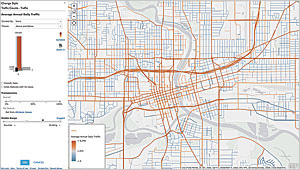 Use the Above and Below theme to show which roads have above-average daily traffic.