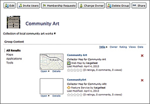 Once the service is published, create a group and invite your field team so it can use the CommunityArt map with Collector.