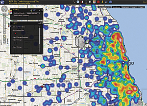 RTA staff use the ZIP Code Assignment Tool to identify potential new facility locations based on user origin densities.