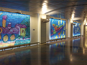 A stunning photomosaics of children's art by artist Robert Silvers, located in a new terminal at McCarron Airport in Las Vegas
