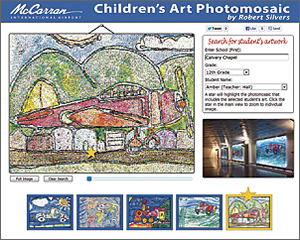 The application uses GIS to let visitors to the Children's Art Photomosaic website locate individual works of art created by children that compose the photomosaics.