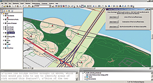 The options available to the player are adjusted based on the initial choice. Selecting Option 1 creates a buffer around the bridge. The question prompt asks the player to choose a geoprocessing tool to identify risk areas in relation to the bridge buffer that was previously selected. The player is now presented with one last set of options.