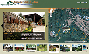 A Story Map app about Kentucky State Park Lodges was the first the Kentucky Division of Geographic Information customized.