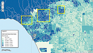 Esri Consumer Spending data for Food Away from Home in Los Angeles County was used to identify three target areas.