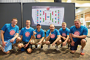 The Dirk Diggler All-Stars were the eventual victors in the DevSummit Dodge Ball Tournament.