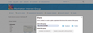 The first step in sharing a Group, making a Group gallery app, or embedding a Group gallery is to open the Group and click the SHARE link on the far right side.