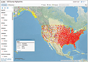 The author, David Kelley, created this ArcGIS Online map showing the locations of US county high points with latitude-longitude and elevation data provided by Tom Dunigan of the County Highpointers organization.