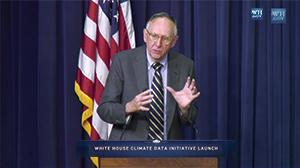Esri president Jack Dangermond speaking in support of the Climate Data Initiative during a White House press conference in March 2014