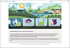 The geocollaboration portal (resilience.maps.arcgis.com/home/) is a mechanism for sharing knowledge and resources.