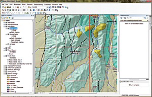 Fault lines showing the direction of faults can be corrected easily in ArcMap using templates.