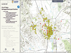 The Map Journal Story Map created by Cal OES to communicate with executives was adopted as its common operating picture. This portion shows the locations of damaged and destroyed facilities.