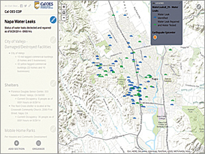 Current data on the status of water leaks, included in the Story Map Journal app, was shared by the City of Napa with Cal OES through an ArcGIS Online Group.