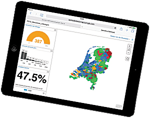 Media in the Netherlands used Esri's Operations Dashboard for ArcGIS to monitor the results of the country's recent provincial election. Widgets on the dashboard showed the number of municipalities reporting election results, the winning parties, and the percentage of voter turnout.