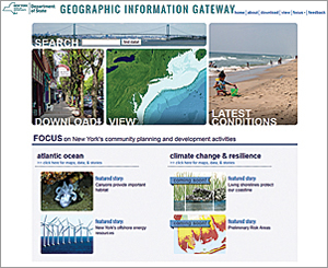 New York State's Office of Planning and Development Geographic Information Gateway home page provides several opportunities for discovering data and related content.