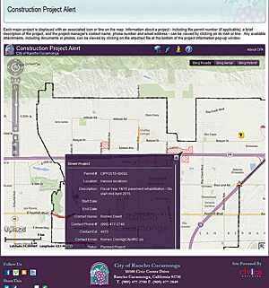 The GIS team works closely with other city departments to improve communication with city residents. This web map app provides the details of construction projects under way in the city.
