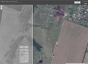 As Airbus Defence and Space tasked a satellite to perform imagery collection, the team quickly provided the raw imagery to analysts for comparison and to locate potential debris and infrastructure to support the response and investigation.
