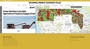 The National Freight Economy Atlas offers a visualization of regional industrial specializations in relation to freight routes. Image courtesy of Center for Information Systems and Technology/Claremont Graduate University