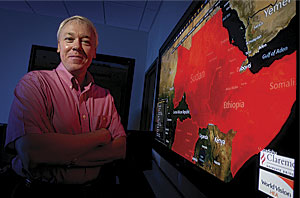 Brian Hilton directs Claremont's Advanced GIS Lab, where the National Freight Economy Atlas was built. Photo courtesy of Claremont Graduate University