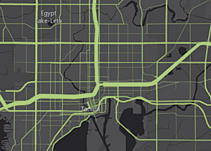 Figure 6: Subtle differences can be achieved using transparency. The map on the right employs attributes for size and transparency to make the busiest highways stand out and the roads with less traffic recede visually into the map.