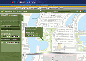 GIS manager Ian Wint discovered he could rapidly expand the City of Ft. Lauderdale's collection of mapping applications in a fraction of the time by configuring the templates from Esri like this Park Finder application.