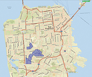 The Connoisseurs Tapestry segment (shown in purple), located in San Francisco's District 7, had the highest rate of program participation and was believed to be the segmentation type most likely to respond to direct marketing.