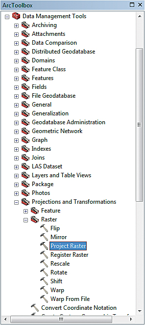 Navigate to Data Management Tools > Projections and Transformations > Raster. Open the Project Raster tool. Stretch the dialog box out completely so all fields are visible.