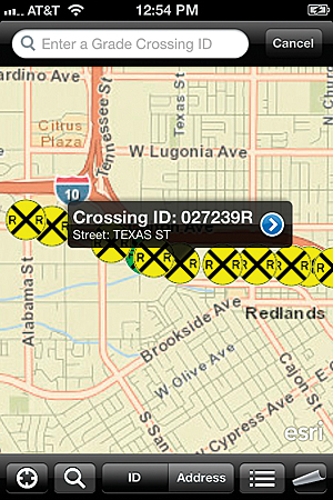 Users can search for rail crossings by ID number or address.