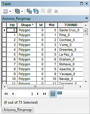Open the Arizona_Ringmap attribute table to make sure the TOWNID column was created.