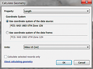 Calculate the Miles field by Calculate Geometry, a content menu choice available when the header for the Miles field is right-clicked.