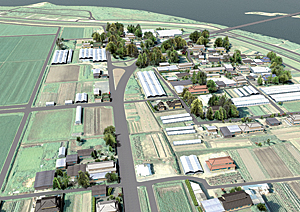 The project by SmarterBetterCities and Eiko Kumakura from Tokyo Institute of Technology to rebuild parts of Japan following the 2011 Tohoku earthquake and tsunami combined ArcGIS Online 2D maps, CityEngine, and SmarterBetterCities's CloudCities interactive 3D viewer.
