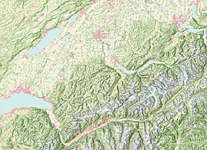 Using the Multi-Directional Hillshade to visualize land cover in the Alps in Europe.
